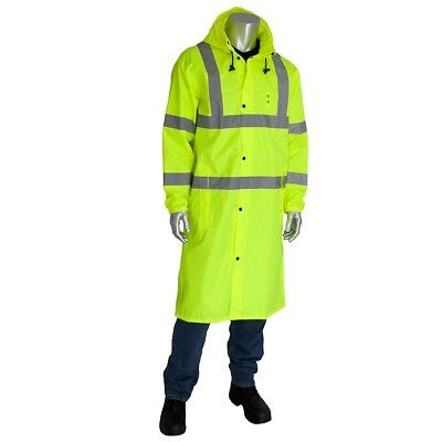 PIP Class 3 Safety Raincoat with Concealable Hood, Yellow/Lime