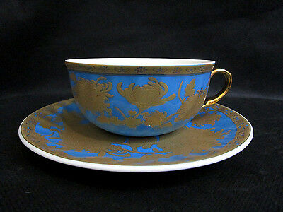 1 x Fine Bone China Tea Cup & Saucer Turquoise Blue & Gold Gilt | Made in China