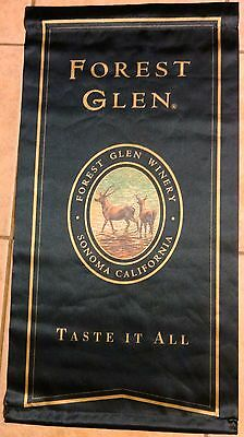 """FOREST GLEN WINERY Sonoma California (1) Advertising Sign/Flag 17 1/2 x 33"""" MINT"""