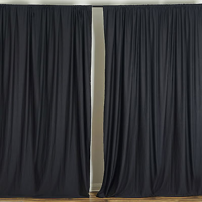 BLACK 10 x 10 ft Polyester BACKDROP CURTAINS Drapes Panels Home Decorations
