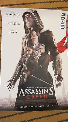 Assassin's Creed - Odeon Lobby Poster - Fassbender - Irons - Mint Condition.