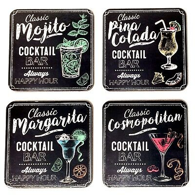 Cocktail Bar Cork Backed Drink Coasters - Set of 4 Pinacolada Mojito Margarita..