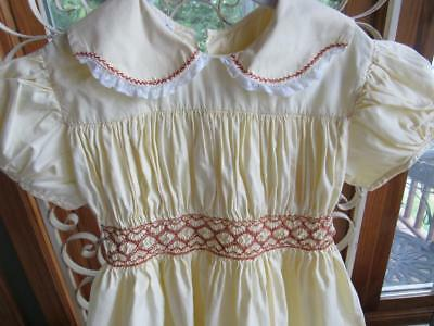 Vintage 1950s POLLY FLINDERS Little Girls Dress Sz 6 YELLOW w/ Brown Smocking