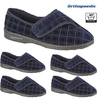 Mens Touch Fastening Low Comfy Slippers Orthopaedic Washable Indoor Shoe Bootie