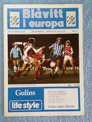 1980 - GOTHENBURG v ARSENAL PROGRAMME - CUP WINNERS CUP 3RD ROUND