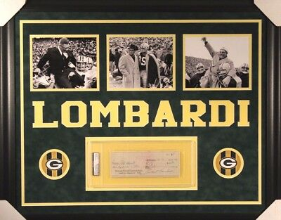 Vince Lombardi Signed Check & Framed Green Bay Display (PSA/DNA )