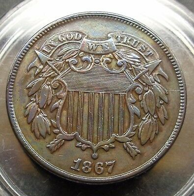 WOW!! Gorgeous Eye appeal Extremely Fine+/AU XF+/AU 1867 two 2c shield piece
