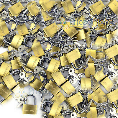 "100 pack Lot 1"" Inch Key Padlock Mini Tiny Small Brass Lock Luggage Toolbox Box"