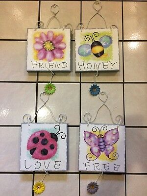 Wall canvas decor for kids room, set of 4, bugs and flower, wood and canvas.