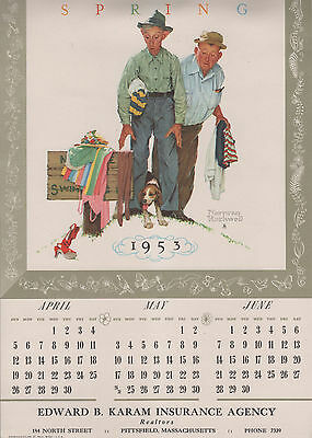 1953 Calendar Featuring 3 Norman Rockwell Prints