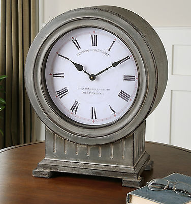 New Dusty Gray Finish White Face Round Table Desk Clock Mantel Vintage Look