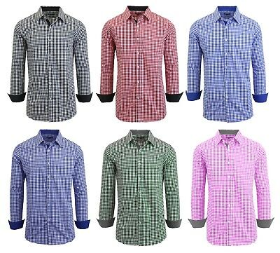 Men's Long Sleeve Button Down Slim Fit Dress Shirt - Gingham Checkered Plaid