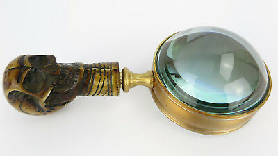Magnifying Glass Brass Antique Skull Skull Art Nouveau Gründerzeit Era Skeleton