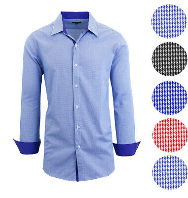 Mens Long Sleeve Shirt Button Down Solid Houndstooth Casual Dress Slim Fit NWT