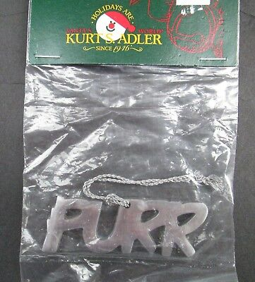 NOS Cat Christmas Aluminum PURR Ornament Kurt s. Adler