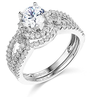 3.25 Ct Round Cut Engagement Wedding Ring Halo Split Shank Solid 14K White Gold