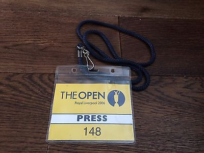 The Open Royal Liverpool 2006- Press Pass- Tiger Woods-Rare