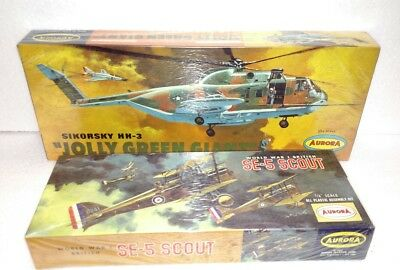 Lot Of 2 Aurora Model Kits Ww1 Se-5 Scout & Hh-3 Jolly Green Giant Brand New