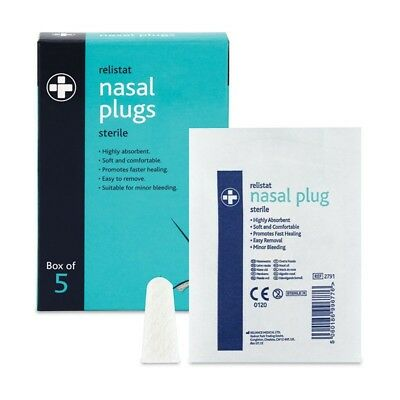 Medical Sterile Nose Nasal Plugs Bleed Wound Injury Dressings First Aid, 5-PACK