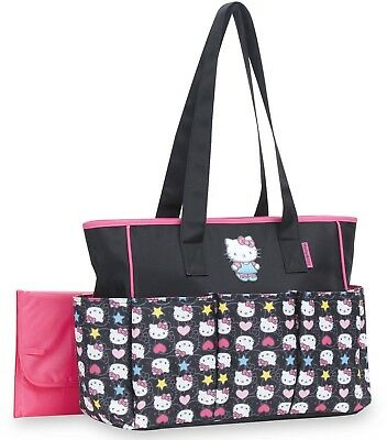 BABY Diaper Bag Tote Hello Kitty 6 POCKETS CHANGING PAD PINK/BLACK NEWBORN NEW