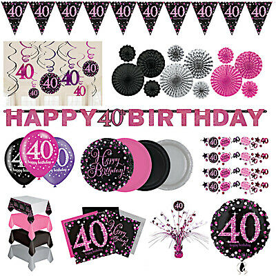 40th Birthday Party Decorations Pink Silver Tableware Plates Cups Napkin Cutlery