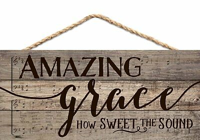 AMAZING GRACE Wall Decor Wooden Sign Dove John Newton Jesus Biblical Rustic