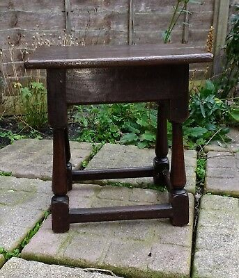 A Fine Early 18th Century Joined Oak Table Stool c1700