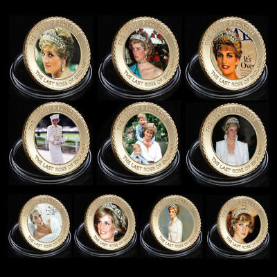 WR Princess Diana Gold Coin Set 10PCS 1961-1997 20th Anniversary Collectibles