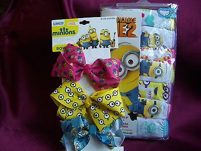 Pack 7 Brief Panties Underwear 4T Toddler Minions Despicable New & Bows!