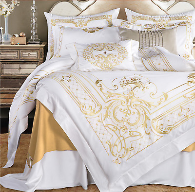 Egyptian Cotton White Gold Embroidered Duvet Cover Bedding Set High Quality UPS