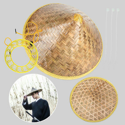 Chinese Vietnamese Japanese Straw Bamboo Cone Sun Hat Farmer Garden Fishing Rice