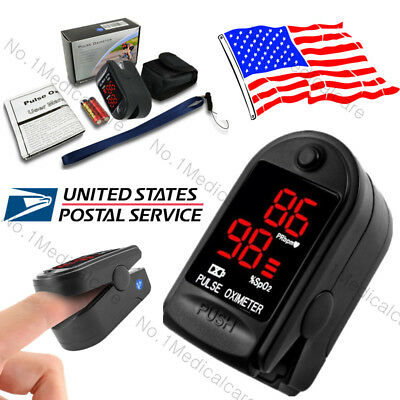 LED SPO2 Pulse Oximeter Finger Fingertip Blood Oxygen Sensor, Pouch+Battery, USA