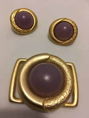 Ernst Gideon Bek Butterfly Signature Set Of Earrings And Buckle