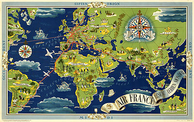 Air France-Reseau Aerien Mondial 1937 Aerial Vintage A1 Canvas Art Print