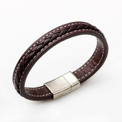 Mens Fashion Genuine Leather Braided Alloy Wristband Bracelet Jewelry Decor Gift