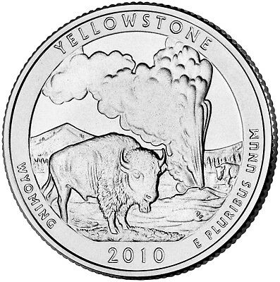 """2010 YELLOWSTONE, WYOMING """"ATB"""" NATIONAL PARK QUARTER P or D MINT 1-COIN BU FREE"""