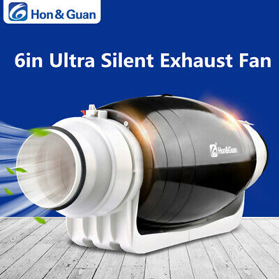 "6"" Silent Hydroponic InLine Duct Fan Low noise Mixed Flowed Extractor Fan 312CFM"