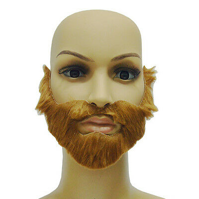 Cosplay Costume Party Male Halloween Beard Facial Hair Disguise Brown MustacheSB