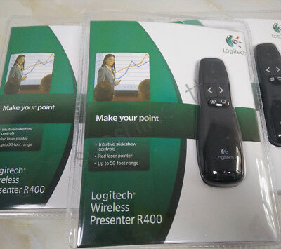 Professional Wireless Logitech R400 Receiver PPT Presenter Red Laser Pointer