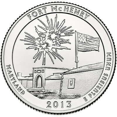 "2013 FT. McHENRY, MARYLAND ""ATB"" NATIONAL PARK QUARTER P/D MINT 1-COIN BU FREE S"