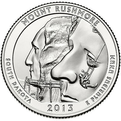 "2013 Mount Rushmore, Sd ""atb"" National Park Quarter P/d Mint 1-Coin Bu Free Ship"