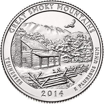 """2014 GREAT SMOKY MOUNTAINS, TN """"ATB"""" NATIONAL PARK QUARTER P or D MINT 1-COIN FR"""