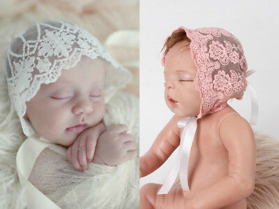 Newborn Baby Girl Boy Lace Floral Hats Photo Photography Props Cap Bonnet Cotton
