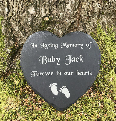 Personalised Engraved Slate Stone Heart Baby Child Memorial Grave Marker Plaque