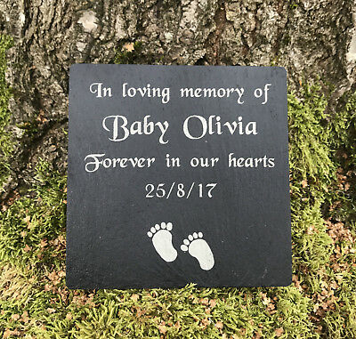 Personalised Natural Slate Baby Child Memorial Grave Marker Plaque Headstone