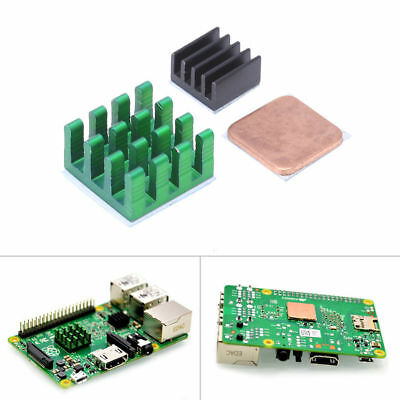 3x Aluminum Heat Sink w/ Copper Cooling Sinks fr Raspberry Pi 3/2 Model B/B+