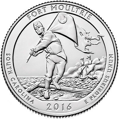"""2016 FORT MOULTRIE, SC """"ATB"""" NATIONAL PARK QUARTER P or D MINT 1-COIN FREE"""
