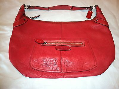 Rare Watermelon RED EUC Coach Large Pebbled Leather Penelope Hobo Shoulder Bag