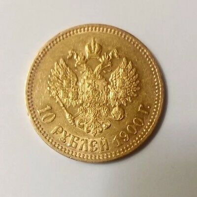 1900 Russia Gold 10 Rubles (ФЗ) Gold Coin Imperial Russian Nicholas II