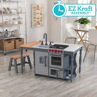 KidKraft Large Play Wooden Kitchen Pretend Play Cooking Toy Set ( 2017 New)